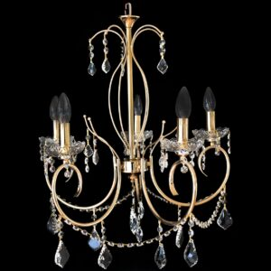 Lampara chandelier moderna dorada