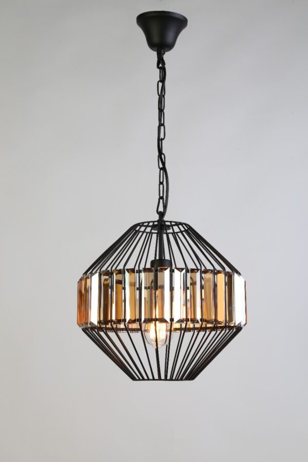 Lámpara canasta cristal ambar