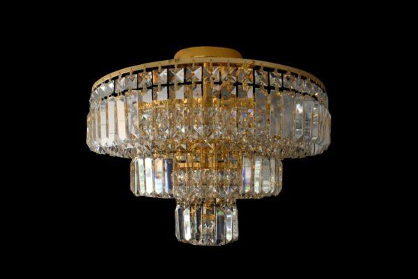 Plafón de cristal 3 niveles dorado