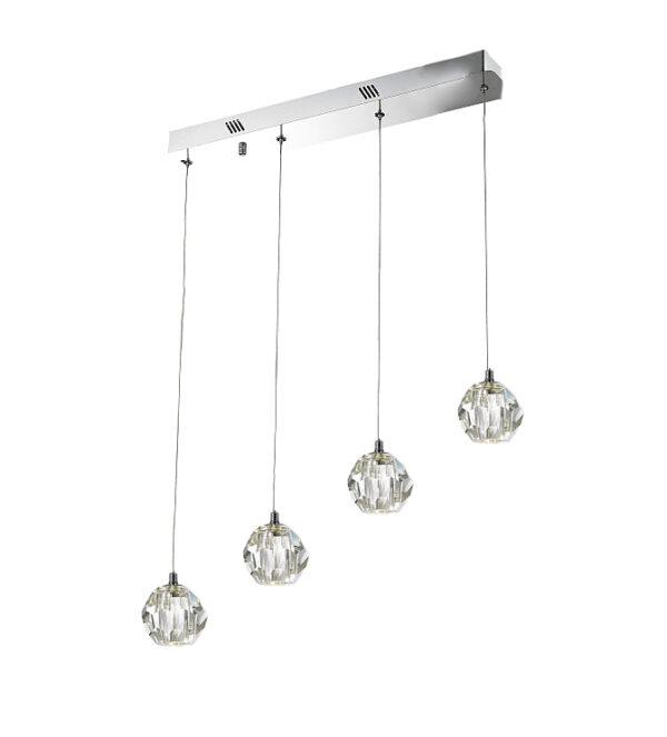 Lámpara de cristal macizo 4 luces