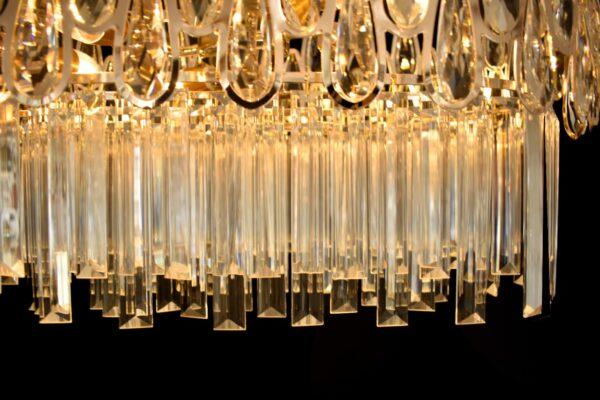 Lámpara rectangular de cristal oro rosa